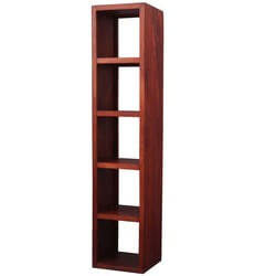 Venita 5 Open Shelf Rustic Solid Wood Tower Bookcase