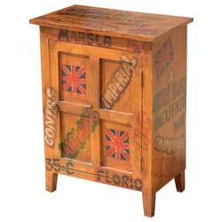 Pop Art Shipping Labels Mango Wood End Table Cabinet