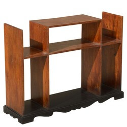 Contemporary Open Back Solid Wood Display Case Media Console