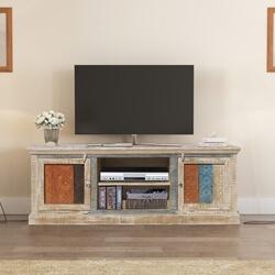 Appalachian Rustic Reclaimed Wood Media Center TV Table