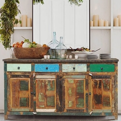 Appalachian Multi-Color Rustic Reclaimed Wood 4 Drawer Large Sideboard
