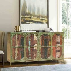 Appalachian Rustic Reclaimed Wood 4 Door Industrial Large Buffet
