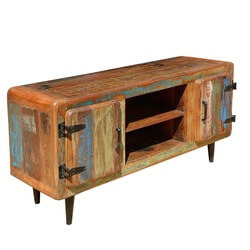 Alfred Rustic Reclaimed Wood Open Shelf Industrial Media TV Stand