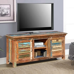 Bertrand Rustic Primitive Reclaimed Wood TV Stand Media Cabinet