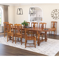 Rustic Solid Wood Extendable Dining Table & Chair Set Furniture