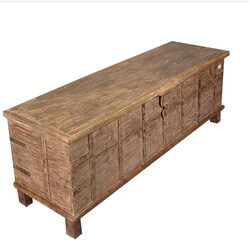 Rustic Reclaimed Wood Extra Long Storage Trunk Chest