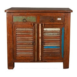 Allendale Rustic Reclaimed Wood Shutter Door 2 Drawer Storage Cabinet