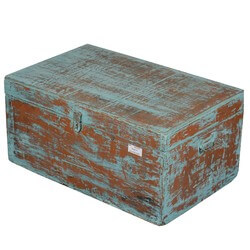 Obetz Distressed Blue Reclaimed Wood Storage Trunk