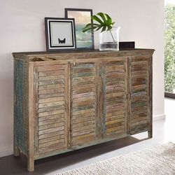 Weathered Rustic Reclaimed Wood Shutter Door Large Sideboard Cabinet