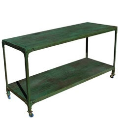 Appalachian Rustic Industrial Wood & Metal Rolling Table