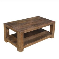 "Contemporary Mango Wood 2 Tier 43"" Coffee Table"