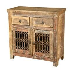 Verona Rustic Reclaimed Wood Iron Grill Door 2 Drawer Buffet Cabinet