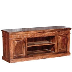 Rustic Solid Wood 2 Doors Hand Carved TV Console