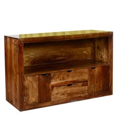 Contemporary Cabin Solid Wood 2 Drawer Media TV Stand Console