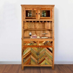 "Solid Reclaimed Wood  72"" Tall Wine Bar Hutch With Glass Stem Rack"