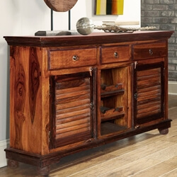 Shaker Rustic Solid Wood 3 Drawer Wine Bar Sideboard Cabinet