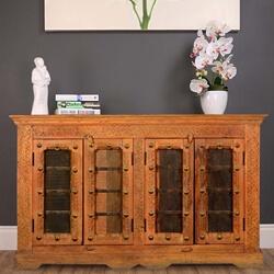 Springfield Rustic Reclaimed Wood Handcrafted 4 Door Buffet