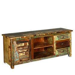 Reclaimed Wood 3 Drawers TV Stand Media Console