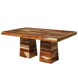 """Dallas Ranch Double Pedestal Solid Wood 78"""" Sutton Dining Table"""
