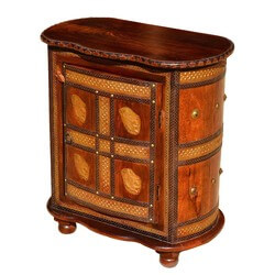 Turkish Brass Inlay Golden Mango Wood Oval Accent Nightstand Cabinet