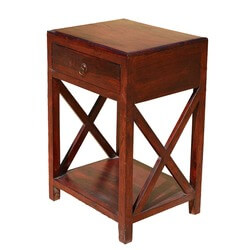 Amberley Double X Solid Wood 2 Tier 1 Drawer End Table
