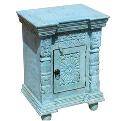 Appalachian Rustic Hand Carved Blue End Table Night Stand