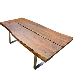Live Edge Acacia Wood & Iron Legs Rustic Farmhouse Large Dining Table