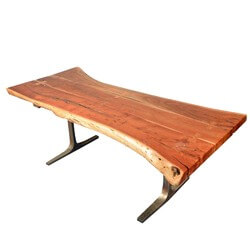 Rustic Live Edge Solid wood Industrial Dining Table with Iron Base