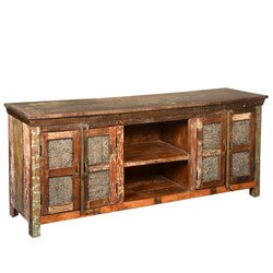 Lecanto Reclaimed Wood Furniture Rustic Wooden Windows TV Media Stand
