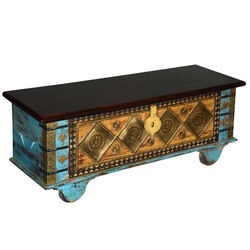 Golden Diamond Mango Wood Rolling Coffee Table Chest
