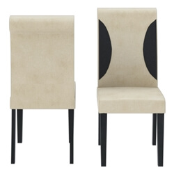 Urban Solid Wood & Leather Straight Back Parson Dining Chair Set of 2