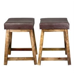 Solid Wood Leather Upholstered Duff Square Counter Stool Set of 2