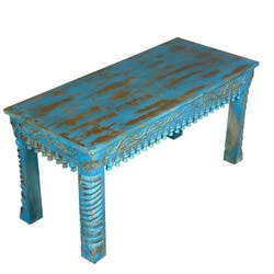 Sky Blue Hand Carved Mango Wood Window Bench