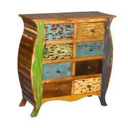 Orlando Reclaimed Wood 8 Drawer Bombe Double Dresser