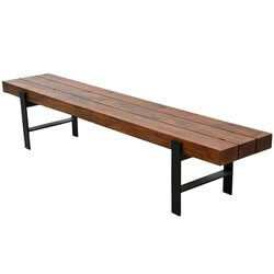 Newbury Industrial Beam Block Iron Base Solid Wood Dining Bench