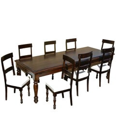 American Acacia wood Dining Table & Leather Upholstered Chairs