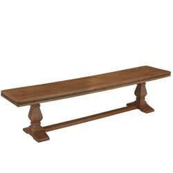 Traditional Country Rustic Solid Wood Twin Pedestal Base Dining Bench