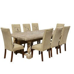 Italian Mango Wood White Dining Table & Cafe Logo Fabric Chairs