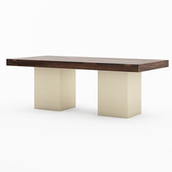 "120"" Large Sierra Solid Wood Sutton Double Pedestal Dining Table"