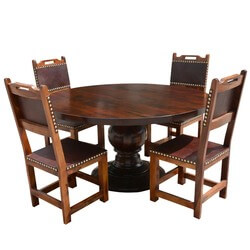 Santa Ana Round Kitchen Dining Table Set with Leather back chairs