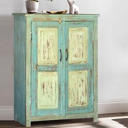 Deersville Blue & Green Reclaimed Wood Storage Cabinet