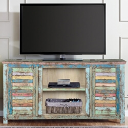 Ritter Rainbow Reclaimed Wood Shutter Door Media Console
