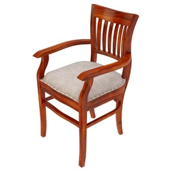 Chantilly Chic Handcrafted Rosewood Leather Cushion Dining Arm Chair