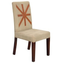 Impressive Leather Trimmed Upholstered Parson Side Chair