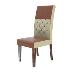 Hosford Handcrafted Leather and Fabric Tufted Parson Dining Chair