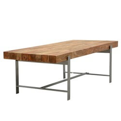 "Unique Hankin Industrial Iron & Hardwood 94"" Large Dining Table"