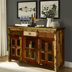Appalachian Rustic Reclaimed Wood Window Pane Large Sideboard Cabinet