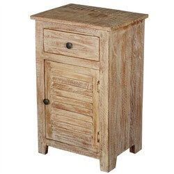 Winter Night Reclaimed Wood Shutter Door End Table Night Stand