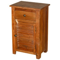 Oklahoma Farmhouse Old Wood Shutter Door 1 Drawer Nightstand