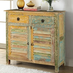 Attica Shutter Door Rustic Reclaimed Wood 2 Drawer Buffet Cabinet